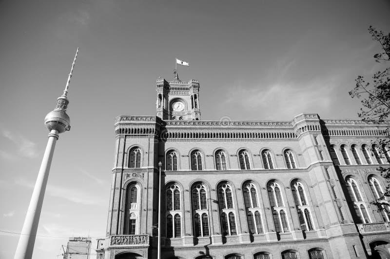 Hôtel de ville dans la tour de Berlin et de TV image libre de droits