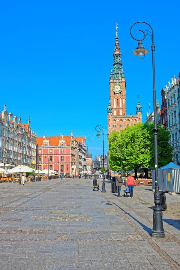 Hôtel de Ville et place principaux de Dlugi Targ à Danzig Pologne photos libres de droits