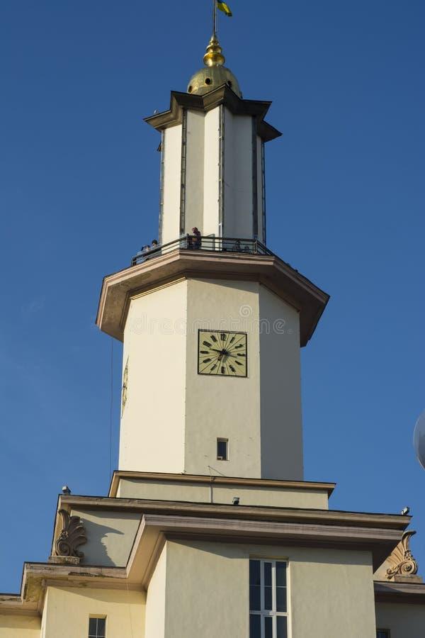 Hôtel de ville - le bâtiment central de la ville d'Ivano-Frankivsk l'ukraine photographie stock