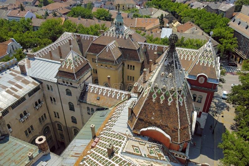 Hôtel de Ville de toit de Subotica, Serbie photos libres de droits