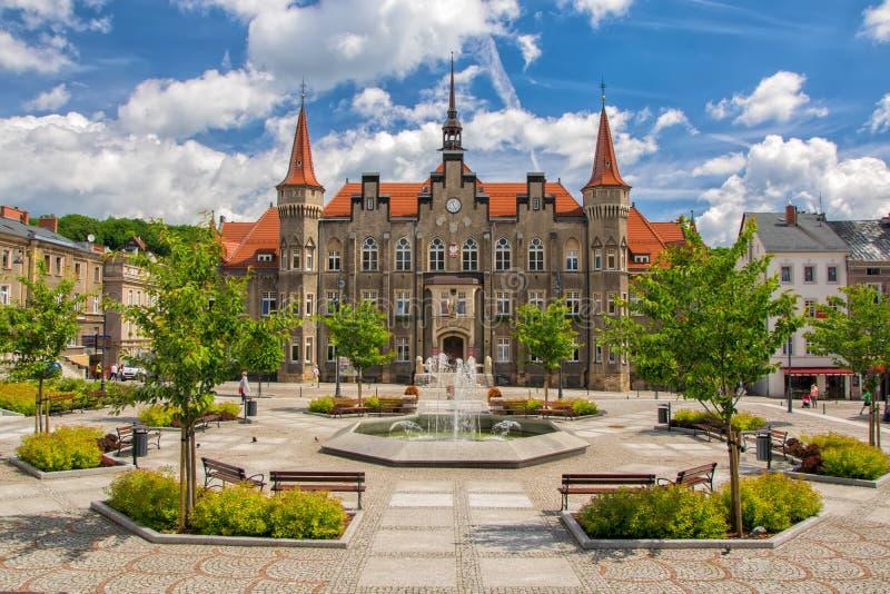 Hôtel de ville de Walbrzych - Waldenburg - ville, Silésie inférieure, Pologne image libre de droits