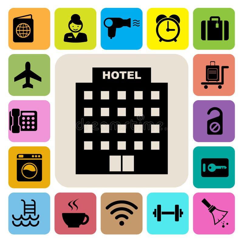 Hôtel et ensemble d'icône de voyage illustration de vecteur