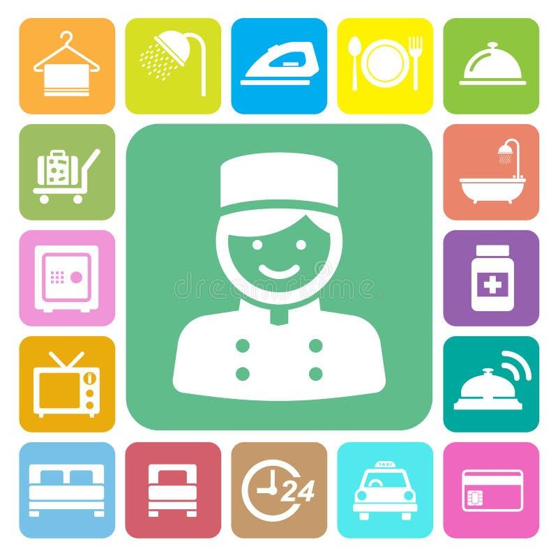 Hôtel et ensemble d'icône de voyage illustration libre de droits
