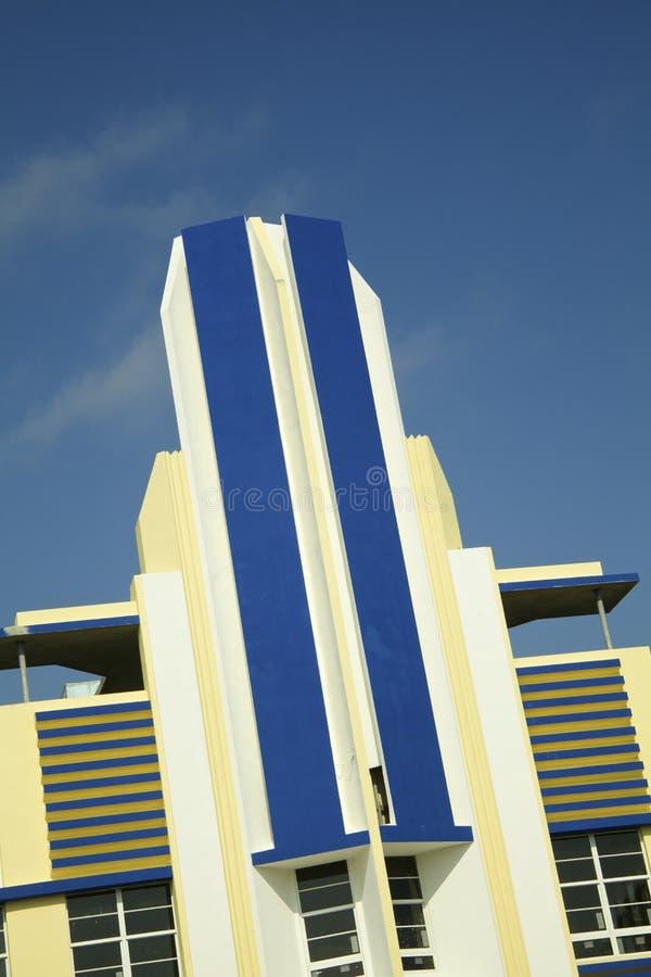 Hôtel historique d'art déco en plage du sud de Miami image stock