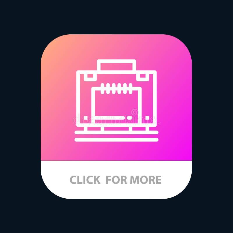 Hôtel, sac, valise, bouton mobile d'appli de bagage Android et ligne version d'IOS illustration stock