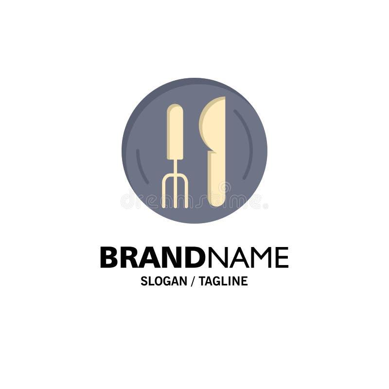 Hôtel, service, couteau, affaires Logo Template de plat couleur plate illustration stock