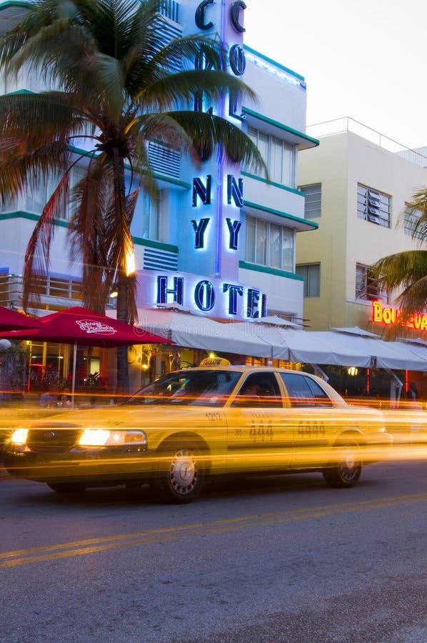 hôtels du sud d'art déco de Miami de plage photographie stock libre de droits