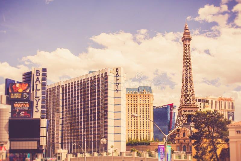 Hôtels et stations de vacances de Las Vegas sur Sunny Day photographie stock