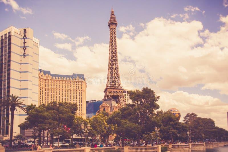 Hôtels et stations de vacances de Las Vegas sur Sunny Day images libres de droits