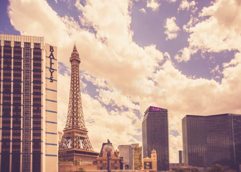 Hôtels et stations de vacances de Las Vegas sur Sunny Day photographie stock libre de droits