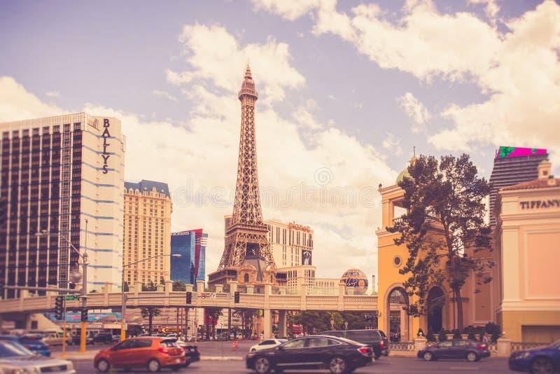 Hôtels et stations de vacances de Las Vegas sur Sunny Day images stock