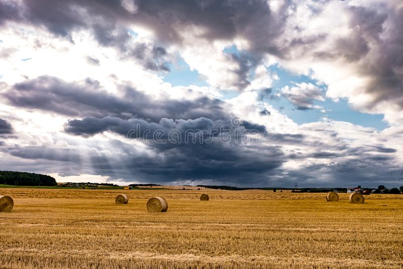Höbaler under molnig stormhimmel på skördat vetefält royaltyfri bild