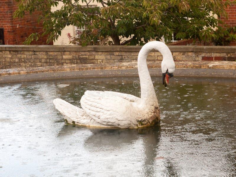 Höckerschwanstatue im Brunnen im mistley Essex stockfotos