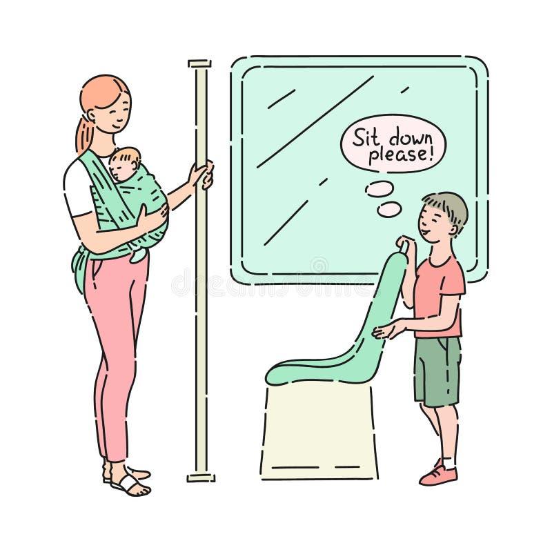 Höfliches Kind des Vektors, das der Frau seinen Sitz aufgibt stock abbildung