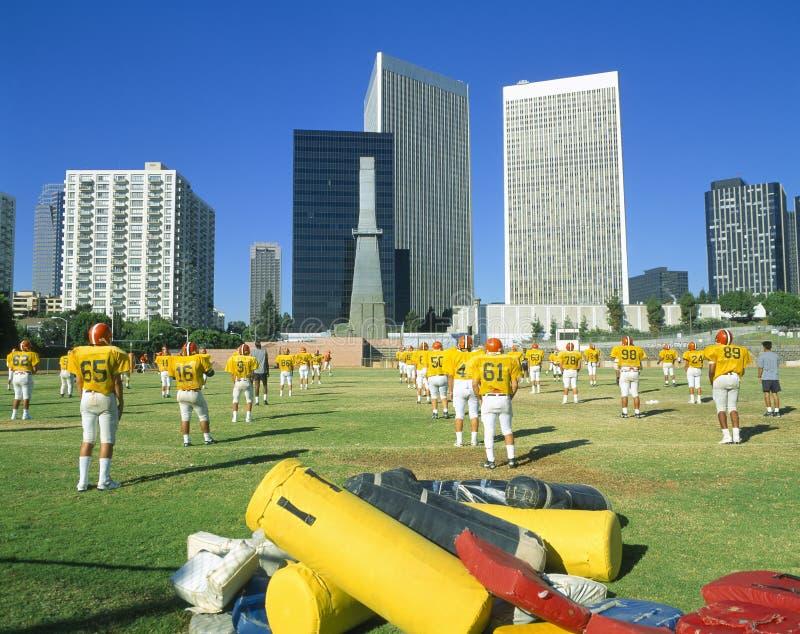 hög övningsskola för fotboll arkivbilder