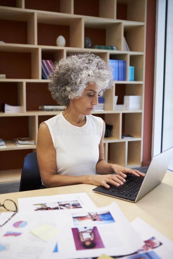 Hög affärskvinna som i regeringsställning arbetar på bärbara datorn, lodlinje arkivfoto