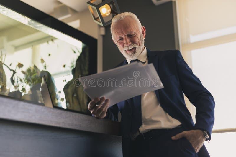 Hög affärsman som analyserar dokumentation royaltyfri foto