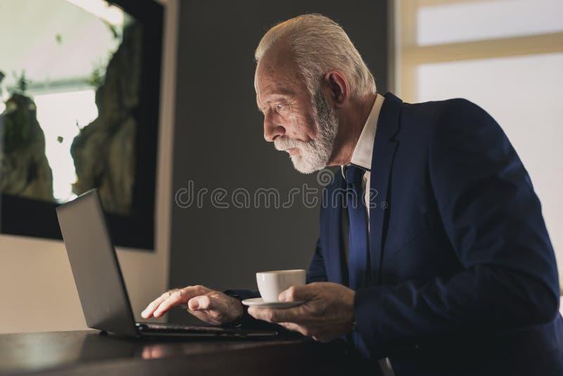 Hög affärsman som dricker kaffe och använder bärbara datorn royaltyfri foto