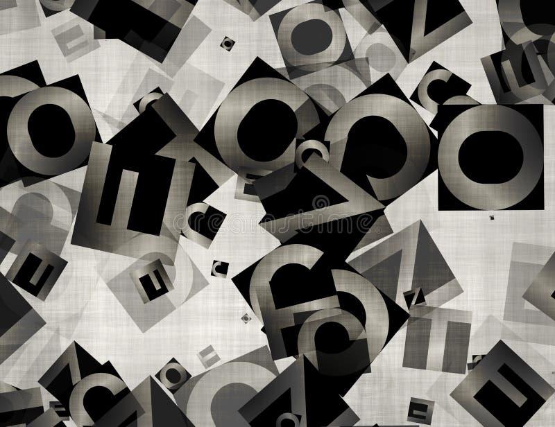 Hög av abstrakta kaotiska alfabetbokstäver royaltyfri illustrationer