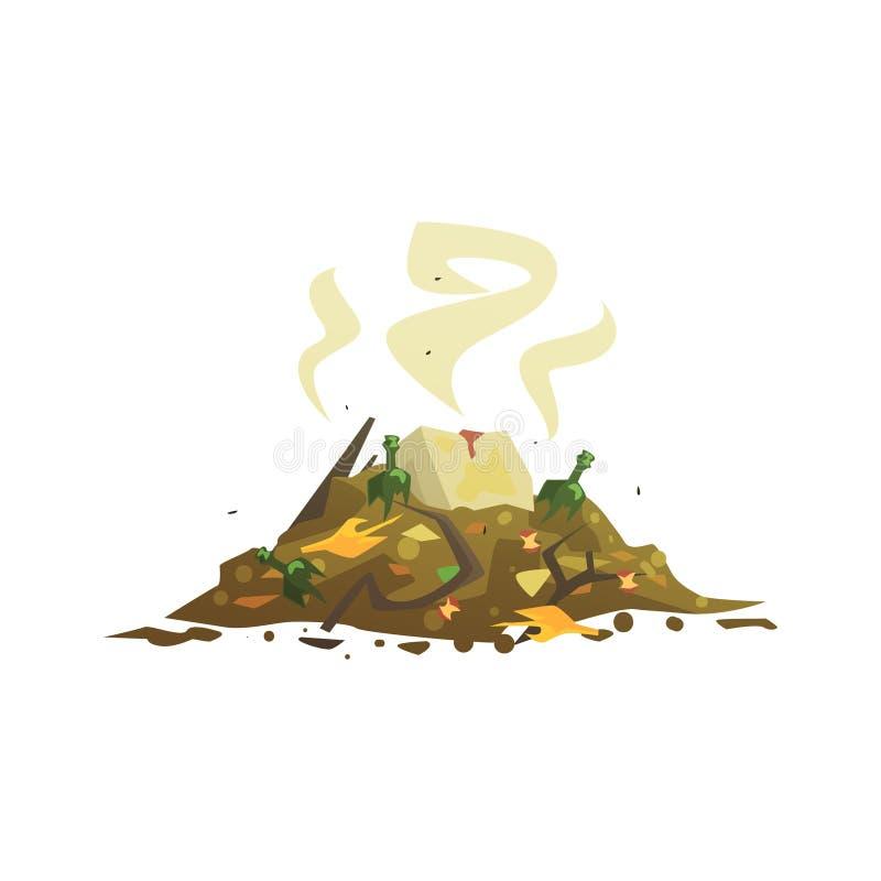 Hög av att förfalla avskräde, att bearbeta för avfalls och illustrationen för utnyttjandetecknad filmvektor royaltyfri illustrationer