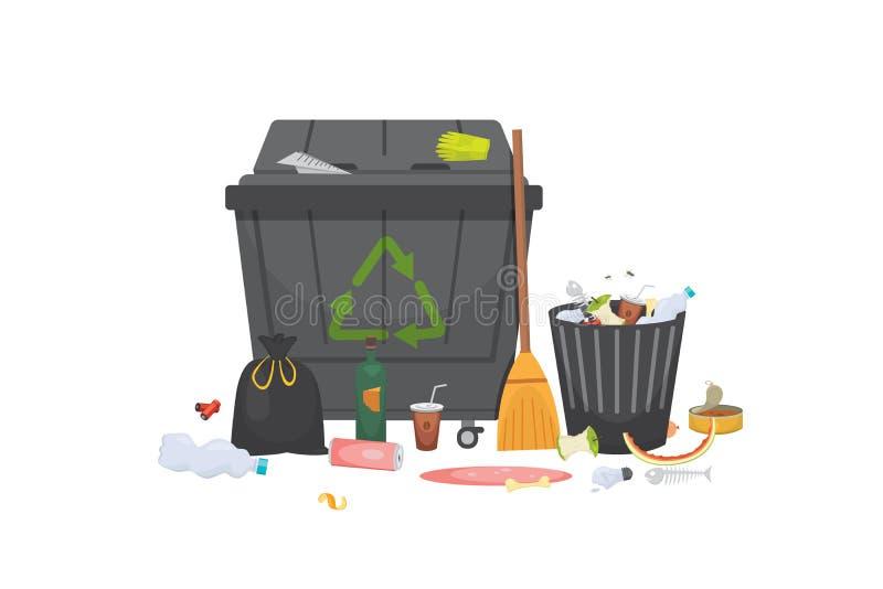 Hög av avfallavskrädeexponeringsglas, metall och papper, plast- elektroniskt som är organiska Vektor isolerad illustration royaltyfri illustrationer
