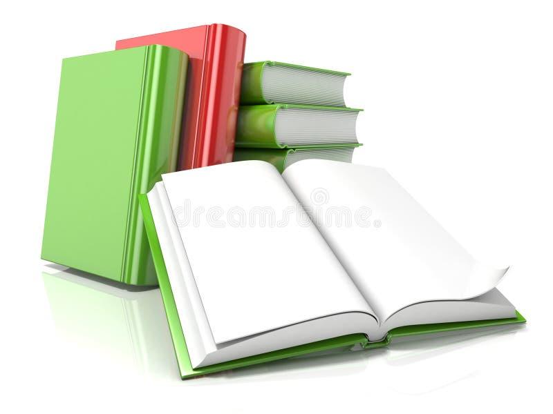 Hög av böcker med öppen 3d framför vektor illustrationer