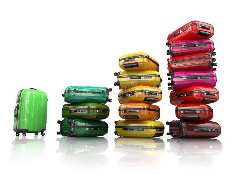 Hög av bagage Lopp- eller turismutvecklingsbegrepp royaltyfri illustrationer