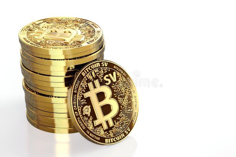 Hög av Bitcoin Satoshi Vision Bitcoin SV eller BSV-cryptocurrencyen som isoleras på vit bakgrund Begreppsmynt framf?rande 3d royaltyfri illustrationer