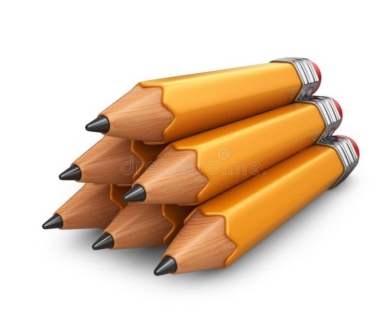 Hög av blyertspennan symbol 3d vektor illustrationer