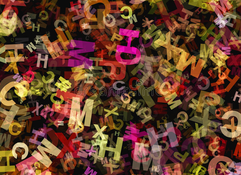 Hög av den abstrakta kaotiska mångfärgade alfabetbokstaven royaltyfri illustrationer