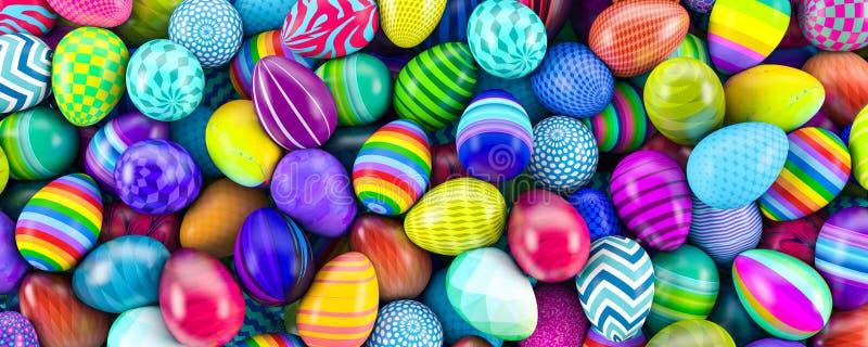 Hög av den färgrika illustrationen för easter ägg 3d royaltyfri illustrationer