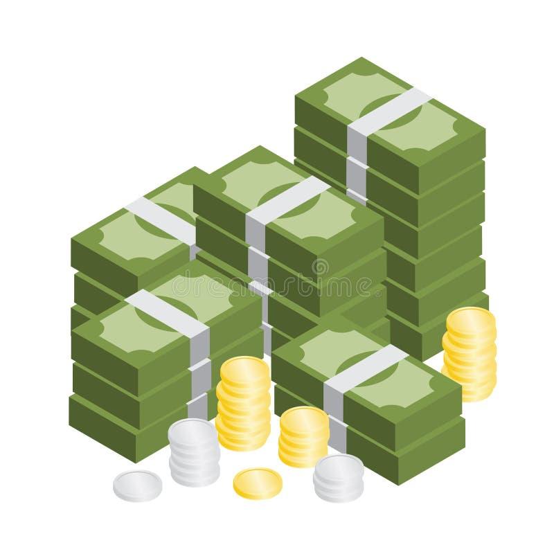 Hög av den isometriska vektorn för pengar och för mynt royaltyfri illustrationer