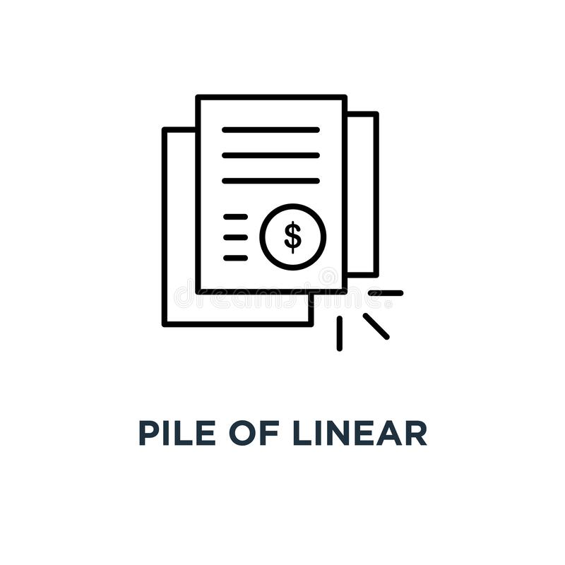 hög av den linjära fakturan eller räkningdokumentsymbolen, symbol av dollaren som packar ihop meddelande eller kontur för tunn tr royaltyfri illustrationer