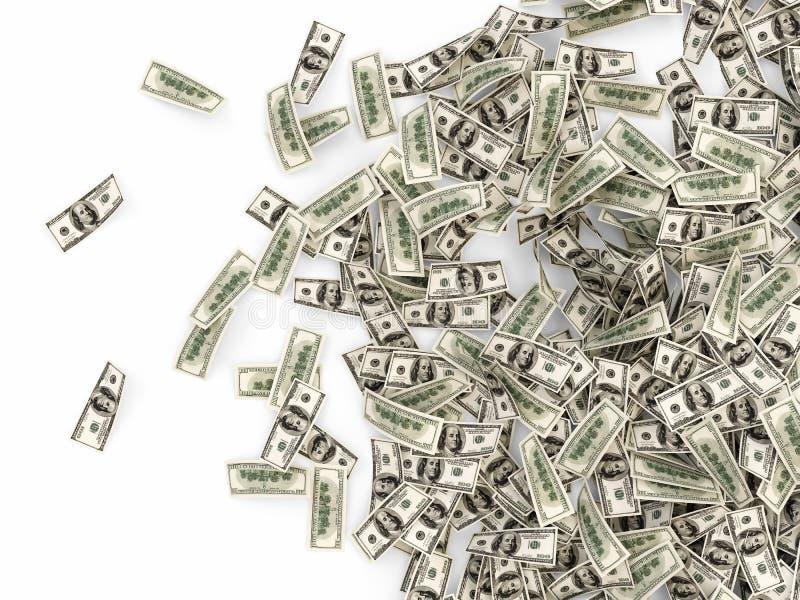 Hög av dollarräkningar royaltyfri illustrationer