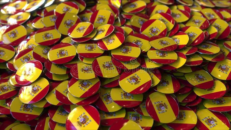 Hög av emblem som presenterar flaggor av Spanien framförande 3d vektor illustrationer