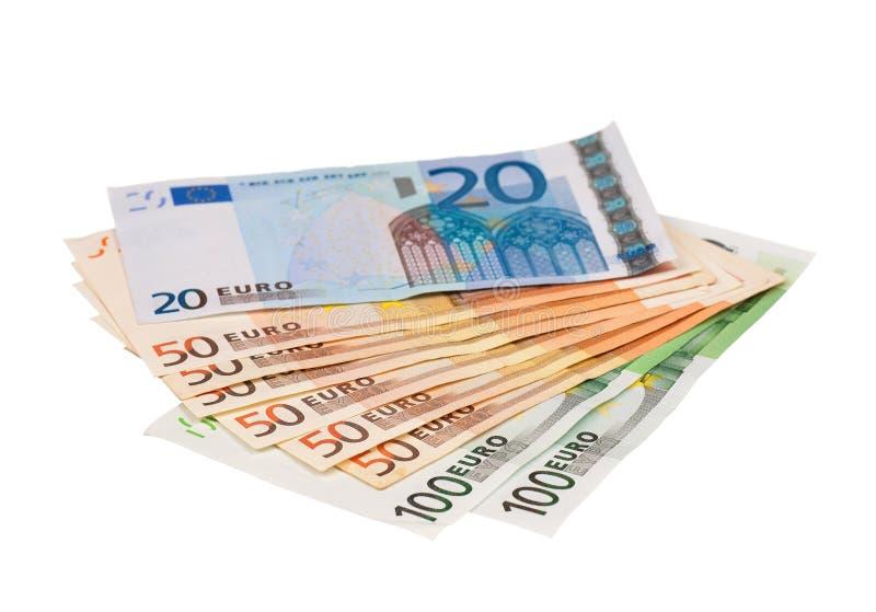 Hög av euroen royaltyfri fotografi
