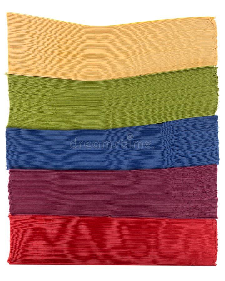 Hög av färgrika servetter royaltyfri foto