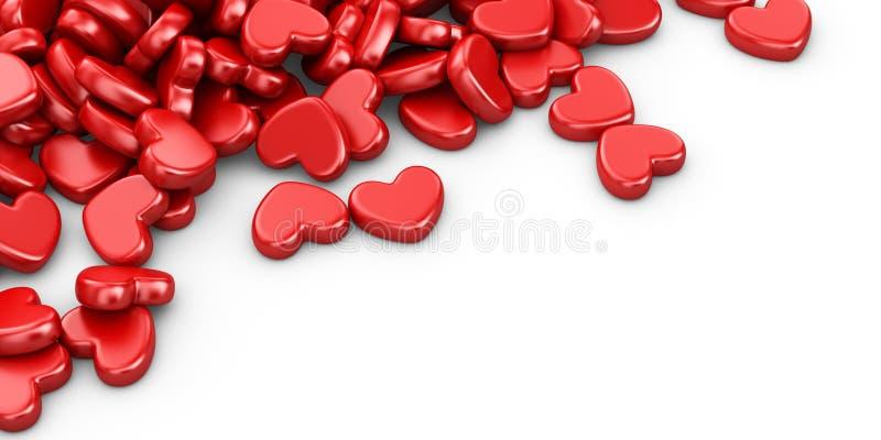 Hög av förälskelsehjärtor 3D Hjärta för två rosa färg vektor illustrationer