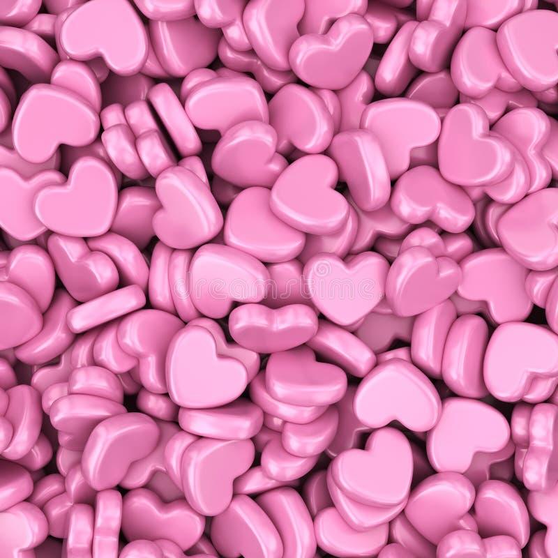 Hög av förälskelsehjärtor Hjärta för två rosa färg stock illustrationer