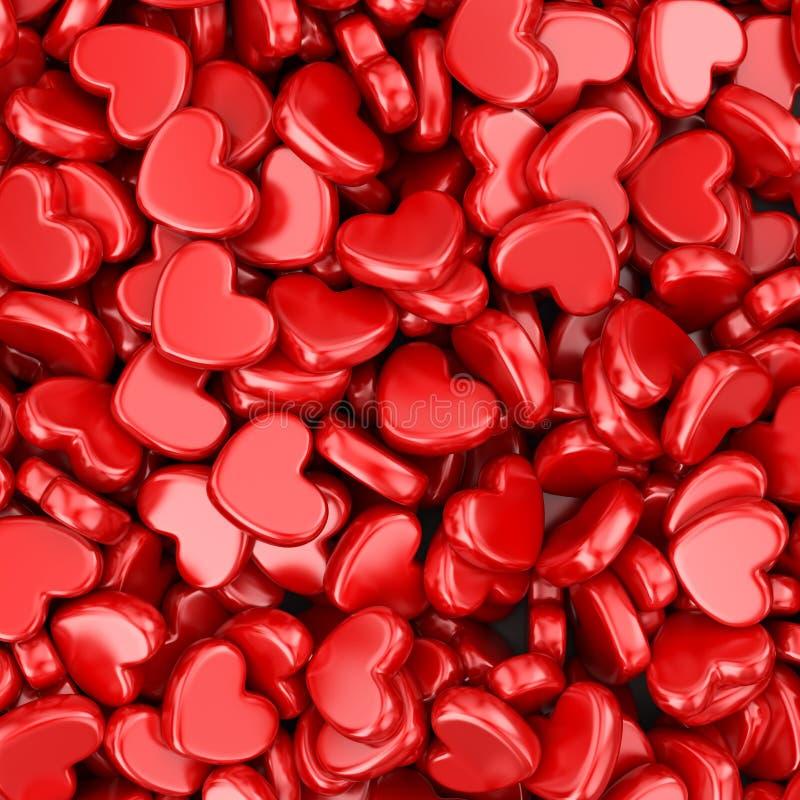 Hög av förälskelsehjärtor Hjärta för två rosa färg vektor illustrationer