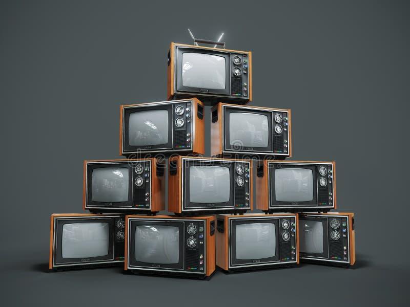 Hög av gamla retro tv:ar på mörk bakgrund stock illustrationer