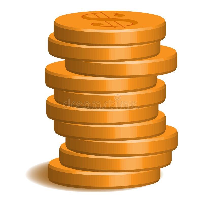 hög av guld 10 mynt royaltyfri illustrationer