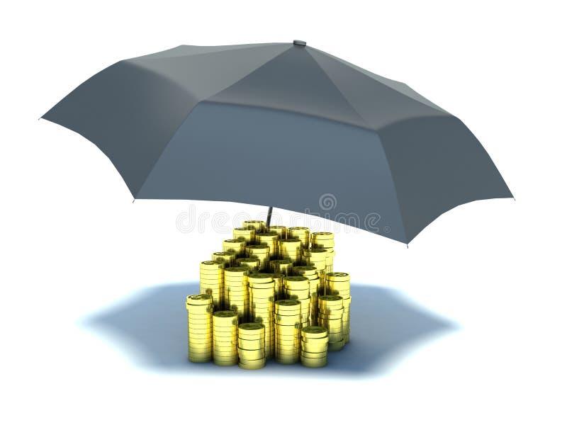 Hög av guld- mynt under paraplyet vektor illustrationer