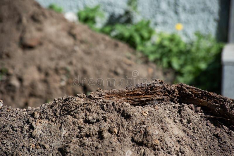 Hög av jord med ruttet trä royaltyfri foto
