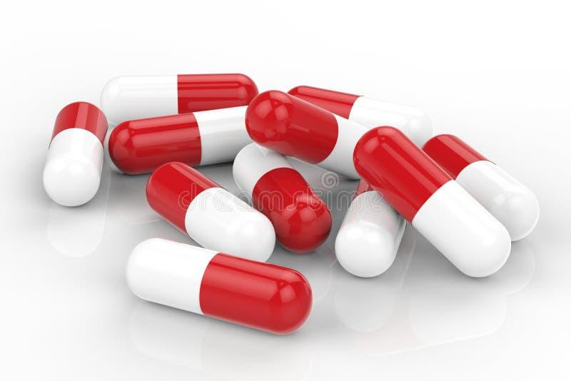 Hög av kapselpreventivpilleren royaltyfri illustrationer
