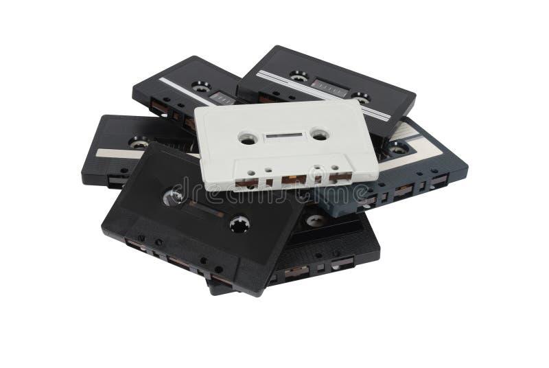 Hög av kassettband royaltyfria bilder