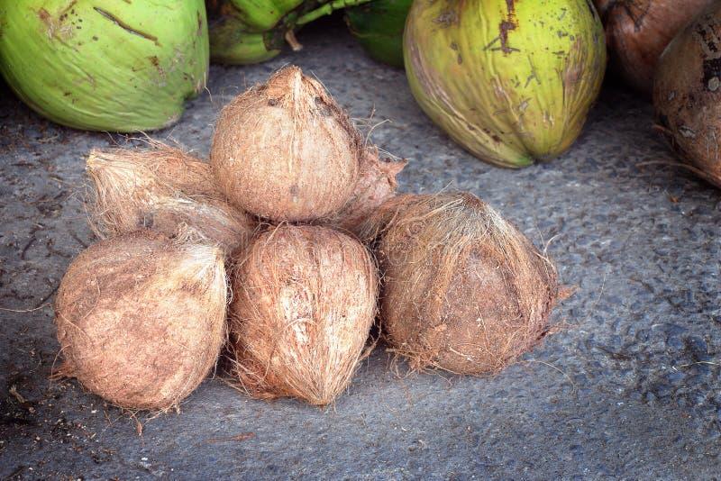 Hög av kokosnötförsäljningen på marknaden royaltyfri fotografi