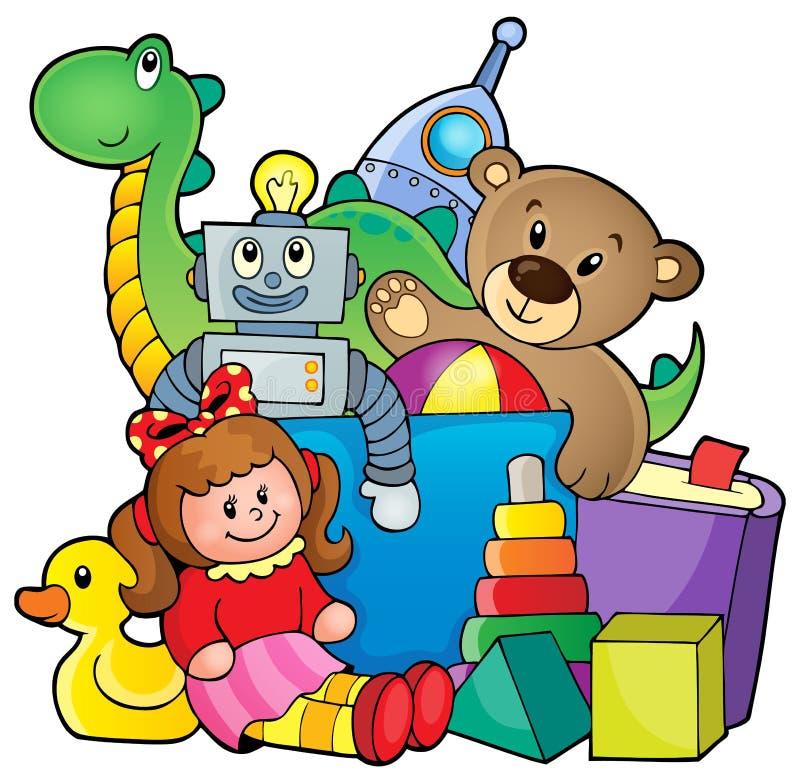 Hög av leksaker stock illustrationer