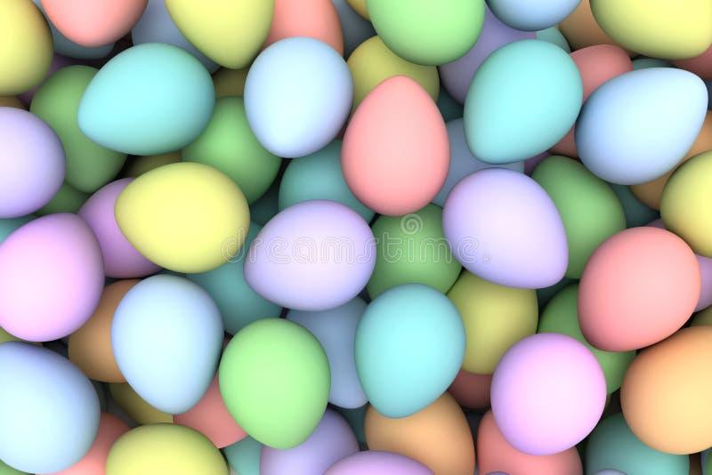 Hög av ljusa och färgrika påskägg arkivfoton