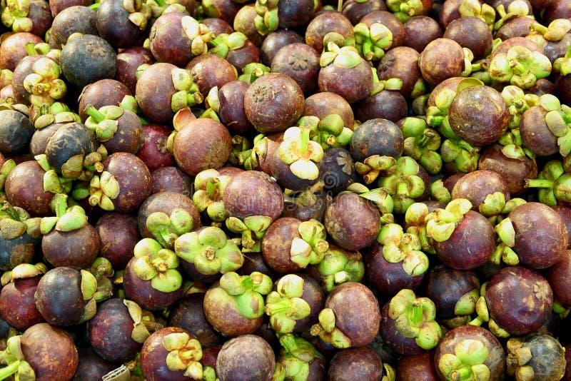Hög av mangosteenfrukt för försäljning i gatamarknaden, Thailand, slut upp royaltyfria bilder